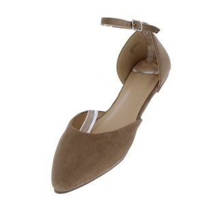 Taupe Pointed Toe Ankle Strap Dorsay Ballet Flat